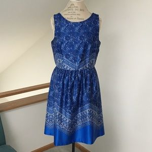 "EUC Cobalt Blue ""Handkerchief"" Print Retro Dress"